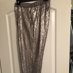 Silver sequin ankle pants